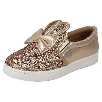 Girls Spot On Flat Bunny Ear Pumps H2480 - Rose Gold Glitter - UK Size 13 - EU Size 32 - US Size 1