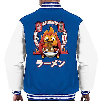 Howls Moving Castle Fire Demon Ramen Calcifer Men's Varsity Jacket