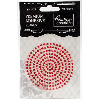 Couture Creations Self-Adhesive Pearls 3mm 206/Pkg-Radiant Red