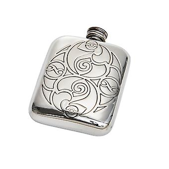 Celtic Spirals Embossed Pocket Pewter Flask - 4oz