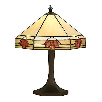Interiors 1900 Nevada Hex Style Amber Small Oriental Tiffany Lamp