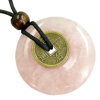Large Lucky Coin Amulet Necklace in Rose Quartz Gemstone Donut
