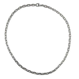 Necklace chain necklace diamond Tombak rhodium-plated carabiner 50 cm