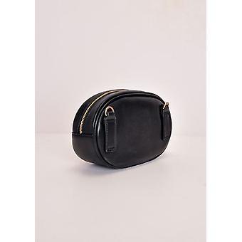 Chevron-Muster gesteppt Golddetails Bum Bag Black