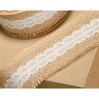 50mm Natural Hessian with Ivory Lace Ribbon for Craft - 5m
