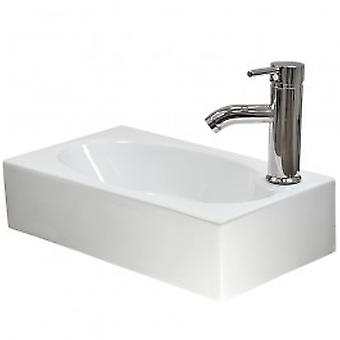 Caspian Ceramic Rectangle Wall Mount Bathroom Sink, Tap & Plug