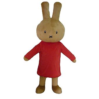 SPOTSOUND Brown rabbit mascot plush, dressed in red