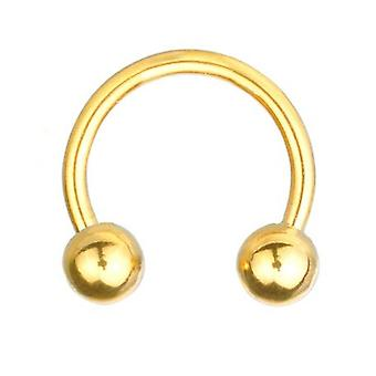 Podkowa z żyłką Brzana Piercing złoto pozłacana, biżuteria ciała, grubości 1,6 mm | Średnica 8-14 mm
