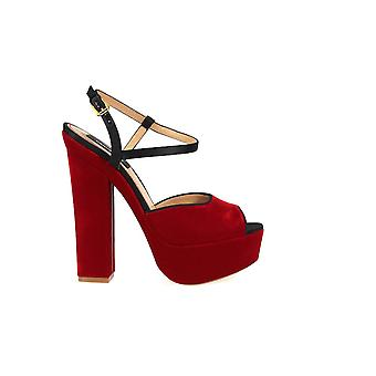 DSQUARED2 ZIGGY RED VELVET SANDAL
