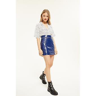 Style Mafia Patent Mini Skirt With Belt And Zip Detail
