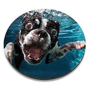 i-Tronixs - Underwater Dog Printed Design Non-Slip Round Mouse Mat for Office / Home / Gaming - 2