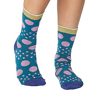 Moon women's soft bamboo crew socks in kingfisher | By Thought