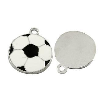 Pakket 5 x wit/zwart emaille & Alloy 18mm Voetbal hangertje/HA08225