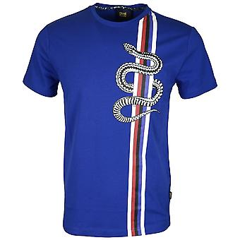 Cavalli Class Jersey Stretch Snake Vertical Lines Peacock Blue T-shirt
