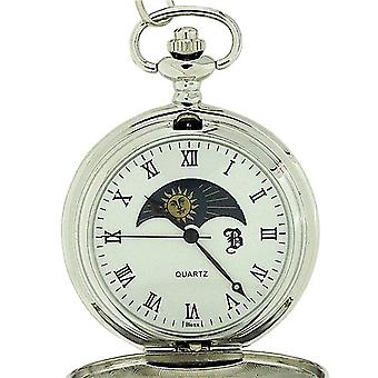 Boxx Silver Tone Sun and Moon Gents Pocket Watch with 12 Inch Chain BOXX190
