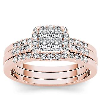 IGI Certified 14k Rose Gold 0.75 Ct Princess Diamond Halo Engagement Ring Set