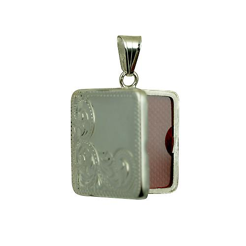 Silver 22mm half hand engraved flat square locket