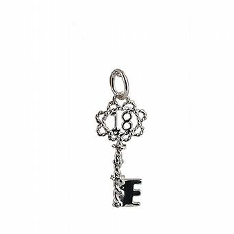 Sterling silver solid 18 Key charm