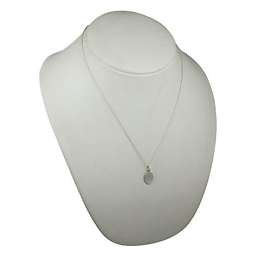 Silver 16x11mm plain oval Disc with a rolo Chain 20 inches