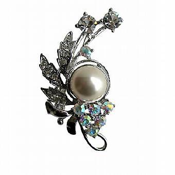 AB krystaller med perler & Cubic zirkon dekorert brosje Pin