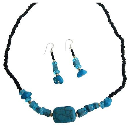 Turquoise Nugget Jewelry Black Beaded Necklace Turquoise Choker Set