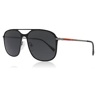 Prada Sport PS53TS DG0/5S0 Black Rubber / Gunmetal PS53TS Square Pilot Sunglasses Lens Category 3 Size 56mm