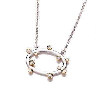 Collar de plata francesa Cavendish, CZ y oro Vermeil aro Boodled