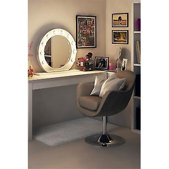 Diamond X Gloss White Hollywood Audio Mirror with LED k248aud
