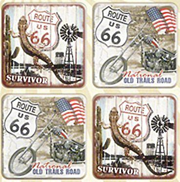 Route 66 (version 2) set of 4 cork backed drinks coasters   (na)