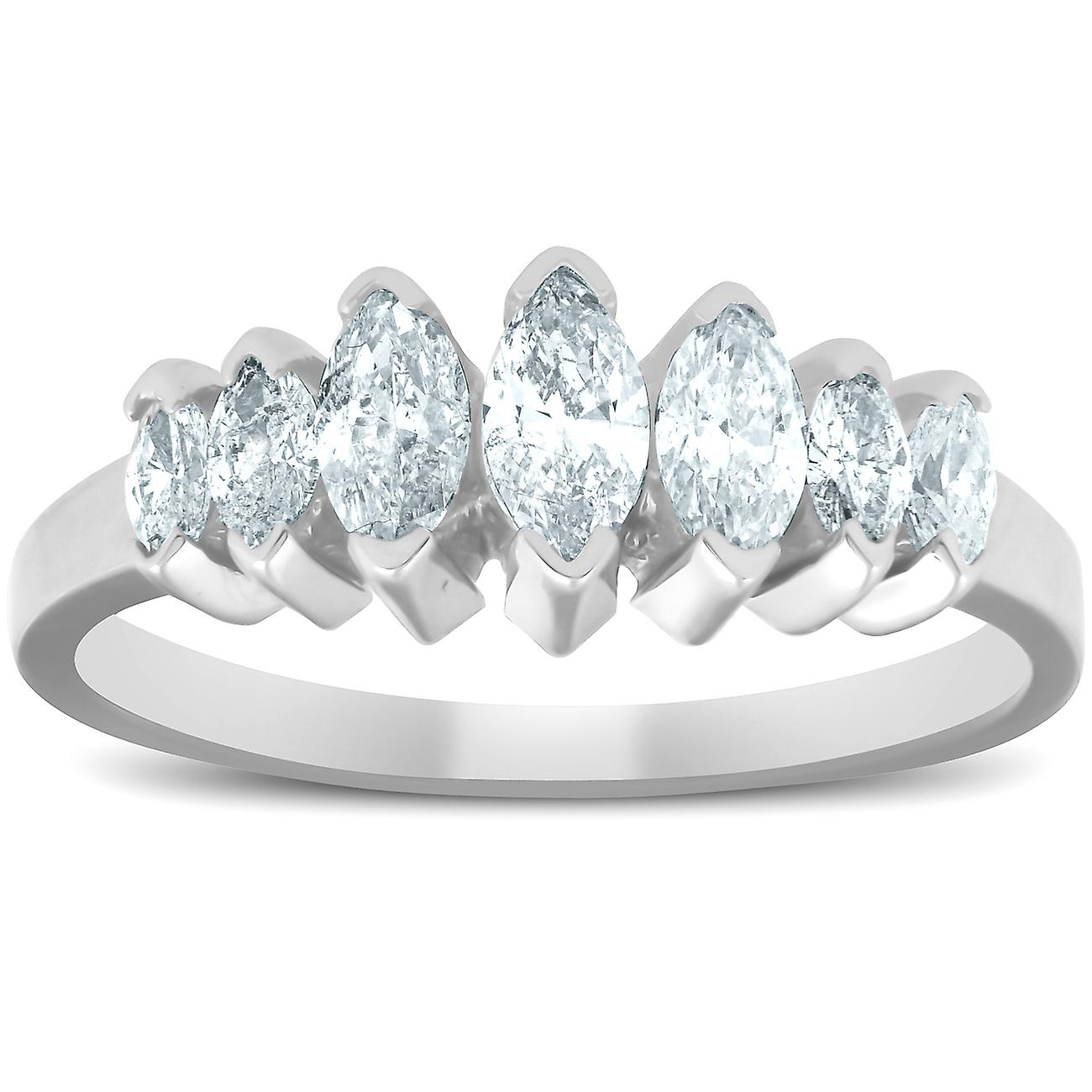 14K blanc or 3 4ct Marquise Diamond Anniversary sacue