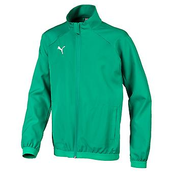 PUMA League sideline Jr kids jacket green pepper white