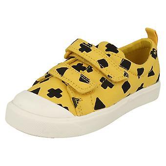 Szczegółowe dla dzieci chłopcy dziewczyny Clarks wzór pochodni płótnie buty City Lo T