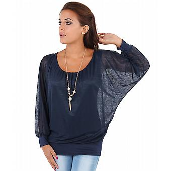 KRISP Batwing Chiffon Necklace Blouse