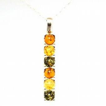 Toc Sterling Silver Three Coloured Amber Dropper Pendant on 18 Inch Chain