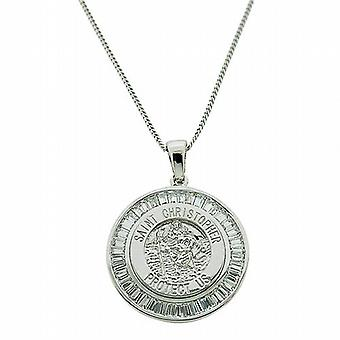 TOC Sterling Silver CZ Baguette Set St Christopher Pendant Necklace 18
