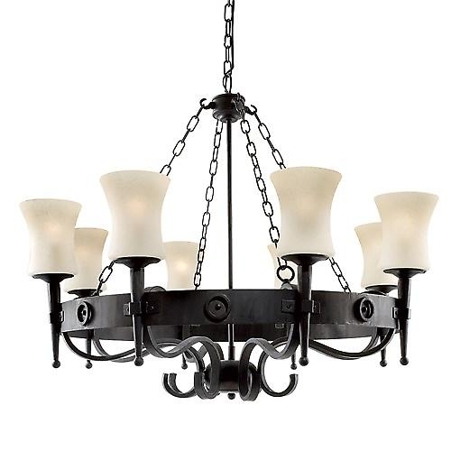Searchlight 0818-8BK Cartwheel Wrought Iron Cartwheel Pendant With Scavo Glass