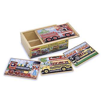 Мелисса & Дуг автомобили 4-в-1 деревянные головоломки в коробке (48 шт.)