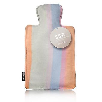 S&R Peach Blue Stripes Designer Knit 2L Hot Water Bottle