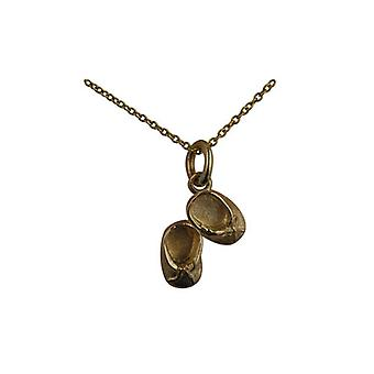 9ct Gold 11x15mm Baby Booties Pendant with a cable Chain 16 inches Only Suitable for Children