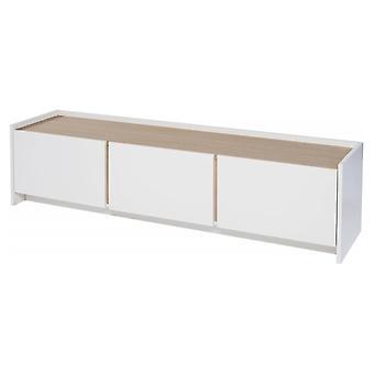 Gillmore Space Bianco e Quercia Laminato Contemporaneo Low Media Sideboard