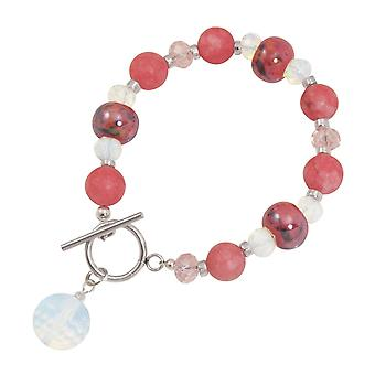 Eternal Collection Harmony Coral Pink Jade And Crystal Ceramic Beaded Bracelet