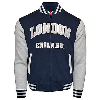 Le170ng Londres Inglaterra unisex jaqueta de beisebol cinza marinho