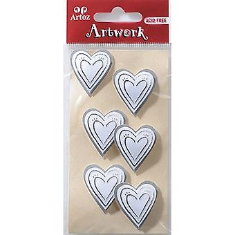 Silver Hearts Craft Embellishment By Artoz