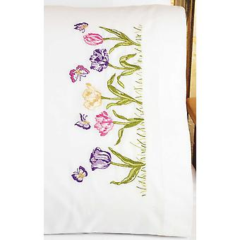 Tulip Garden Pillowcase Pair Stamped Embroidery 20