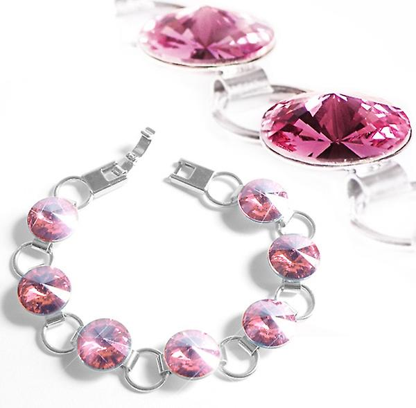 Bracelet with pink Swarovski crystals BMB 1.1
