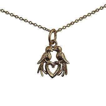 9ct Gold 13x13mm Love Birds Pendant with a cable Chain 16 inches Only Suitable for Children