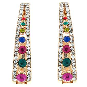 Clip On Earrings Store Gold and Multicoloured Crystal Semi Hoop Clip on Earrings