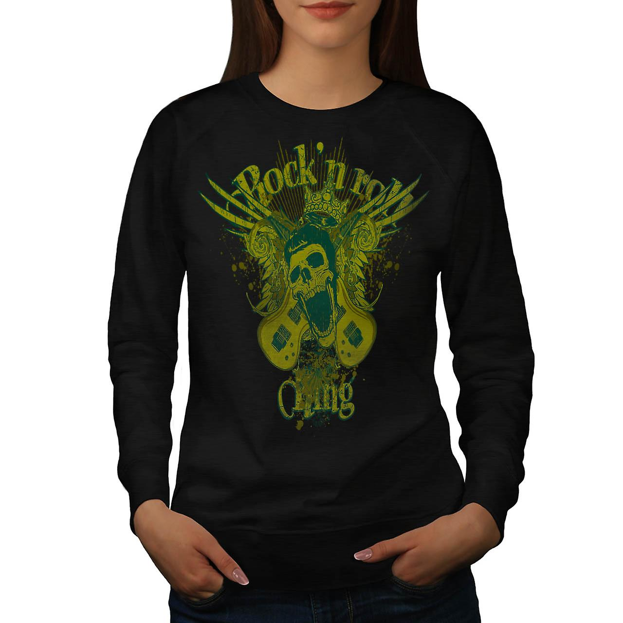 Rock and Roll King Guitar Skull Women Black Sweatshirt | Wellcoda