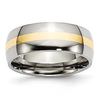 チタン彫刻用 14 k 金象嵌 8 mm 研磨バンド リング - 指輪のサイズ: 6.5 に 14
