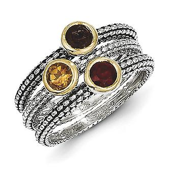 Sterling Silver Bezel Polished Antique finish Flash Gold-Flashed With 14k Gemstone 3 Stackable Rings - Ring Size: 6 to 8